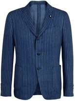 Lardini Blue Pinstriped Denim Blazer