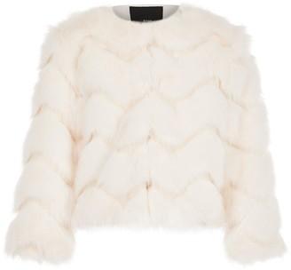 River Island Girls Faux Fur Coat-Cream