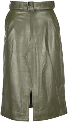 Marni Leather Mid Skirt