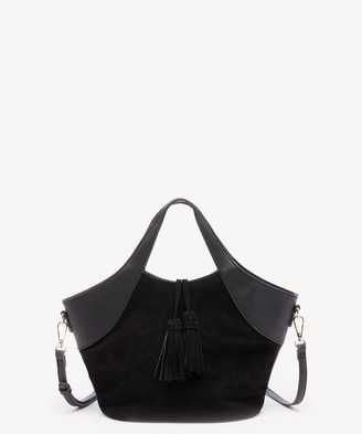 Sole Society Women's Ebba Satchel Straw Satchel With Vegan Leather Trim In Color: Black Combo Bag VEGAN LEATHER / STRAW From