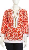 Sheridan French Calypso Ikat-Print Beaded-Neck Tunic, Orange