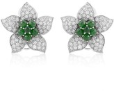 18K White Gold Emerald & Diamond Pave Flower Earrings