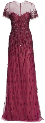 Pamella Roland Tulle Sequin Embellished Gown