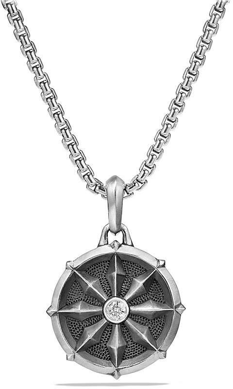 David Yurman Dharma Wheel Amulet with Diamonds