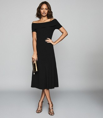 Reiss MELISSA BATEAU NECKLINE MIDI DRESS Black