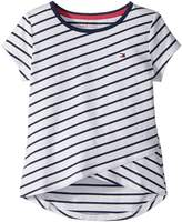 Tommy Hilfiger Stripe Crossover Tee Girl's T Shirt