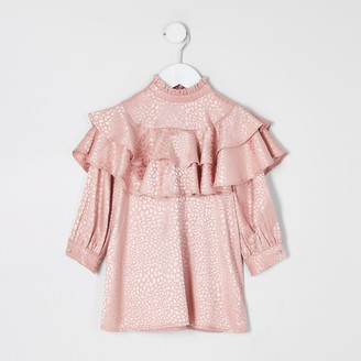 River Island Mini girls Pink jacquard frill trapeze dress
