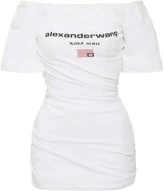 Alexander Wang Twisted Off-The-Shoulder Cotton T-Shirt Dress
