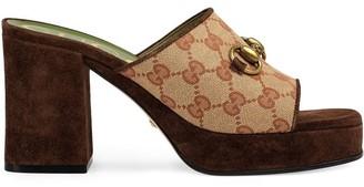 Gucci Brown Gg Logo Platform Slide Sandal