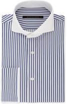 Sean John Men's Regular Fit Navy and White Stripe French Cuff Dress Shirt