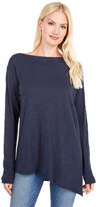 Lilla P Asymmetrical Hem Tunic Tee in Loose Knit Slub (Midnight) Women's Clothing