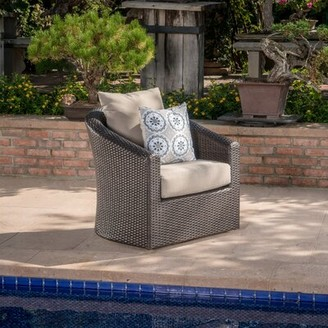 Red Barrel Studioâ® Dierdre Outdoor Wicker Swivel Patio Chair with Cushions Red Barrel StudioA Cushion Color: Mixed Brown