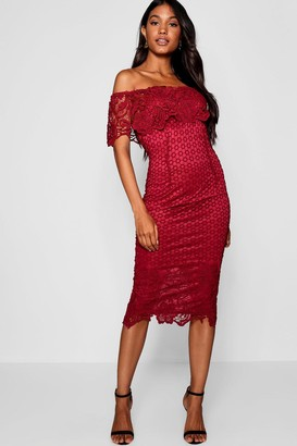 boohoo Boutique Lace Off Shoulder Midi Dress