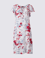 M&S Collection Floral Print Frill Sleeve Swing Midi Dress