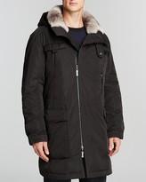 Maximilian Men's Coat with Rabbit Fur Lining