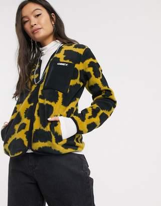 Obey zip up fleece jacket in abstract animal print-Multi