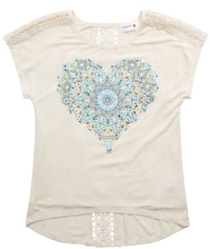 Beautees Big Girls Lace-Back Heart T-Shirt