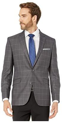 Kenneth Cole Reaction Grey Windowpane Stretch Blazer (Grey Windowpane) Men's Jacket