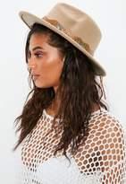 Missguided Tan Brown Western Fedora Hat