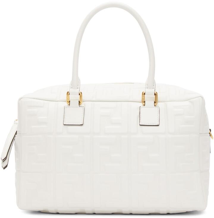 Fendi White Small 'Forever Fendi' Boston Bag