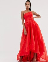 Bariano full maxi dress with organza bust detail in red