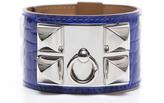 Hermes Electric Blue Alligator Collier de Chien CDC Silver Bracelet