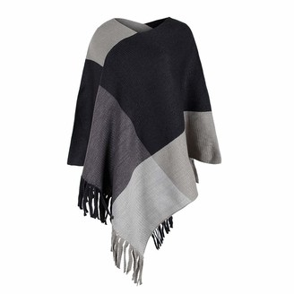 Aiserkly Womens Check Printed Ladies Stretch Knitted Collared Cape Wrap Shawl Jumper Poncho Top with Fringed Hem Black Free Size