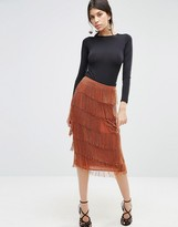 Asos All Over Beaded Fringe Skirt