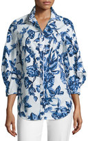 Lela Rose Floral-Print Day Blouse, Blue/Ivory