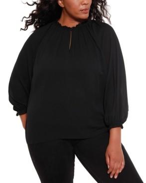 Belldini Black Label Women's Plus Size Blouson Chiffon Top