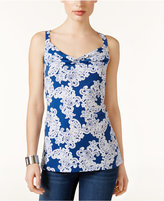 INC International Concepts Lace-Print Cowl-Neck Top, Created for Macy's