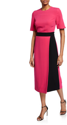 St. John Crewneck Elbow-Sleeve Heavy Georgette Dress w/ Contrast Wrap Detail