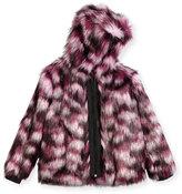 Karl Lagerfeld Hooded Faux-Fur Coat, Pink/Purple, Size 6-10
