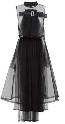 Noir Kei Ninomiya Buckled Tulle Midi Dress - Womens - Black
