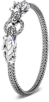 John Hardy Sterling Silver Legends Naga Blue Sapphire Double Dragon Chain Bracelet