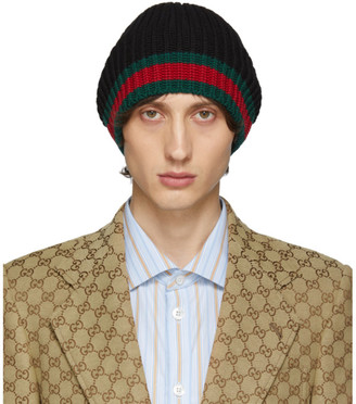 Gucci Black Wool Web Beanie