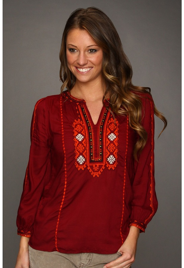Lucky Brand Eastern Dream Embroidered Top (Eastern Red Multi) - Apparel