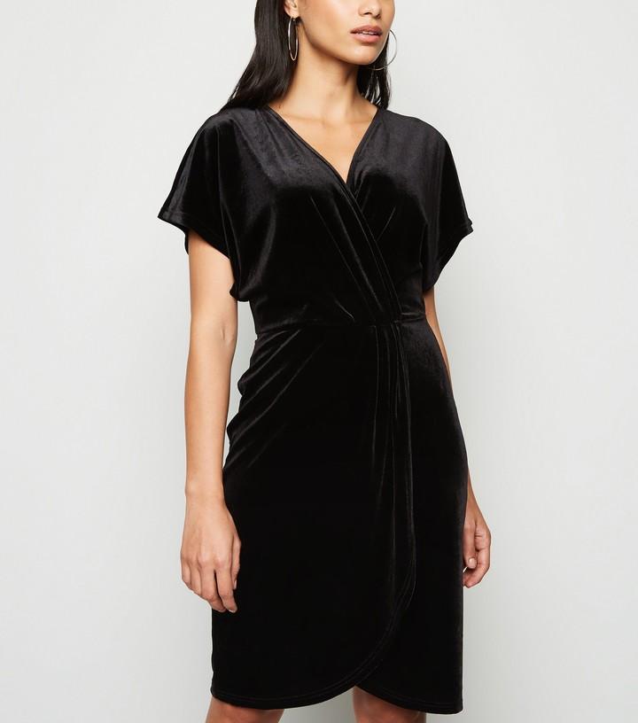New Look Mela Velvet Wrap Front Dress