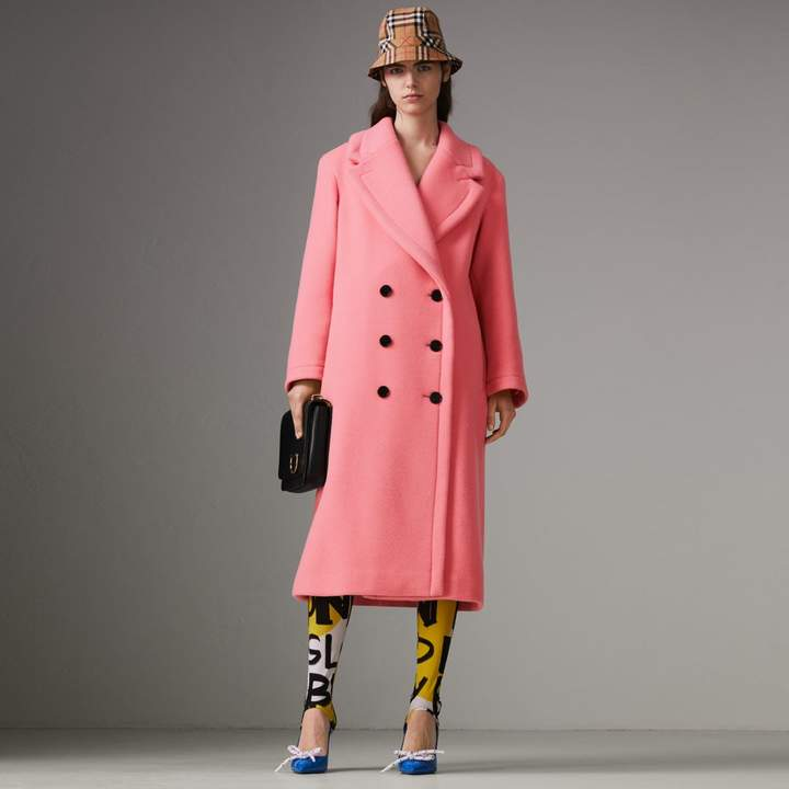 Burberry Double-faced Wool Cashmere Oversized Coat , Size: 06, Yellow