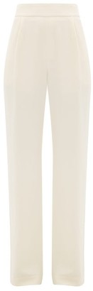 LA COLLECTION Gabrielle High-waist Silk-crepe Trousers - Ivory