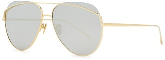 Linda Farrow Luxe Colt Gold-plated Aviator-style Sunglasses