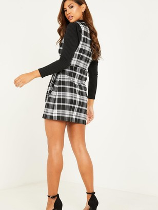 Quiz Jacquard Check Wrap Dress - Black