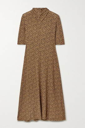 Rosetta Getty Draped Leopard-print Stretch-jersey Midi Dress - Leopard print