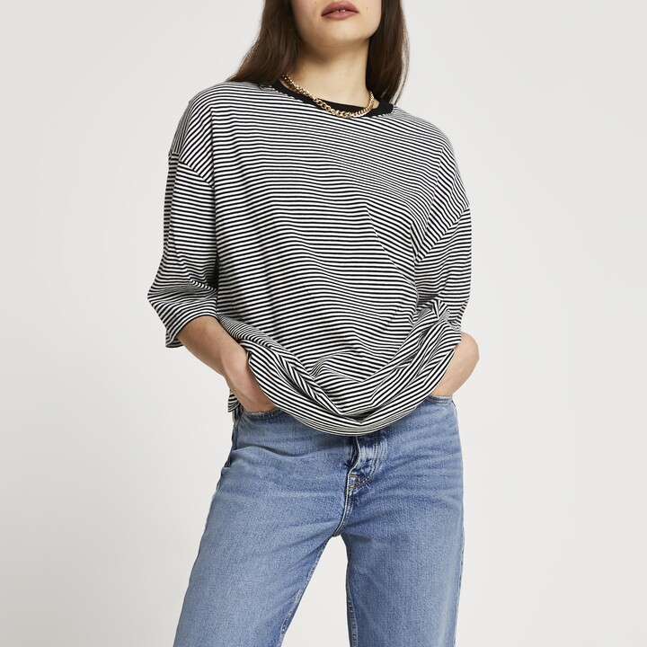 Thumbnail for your product : River Island Womens Black oversized stripe t-shirt