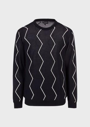 Giorgio Armani Intarsia-Knit Chevron Sweater