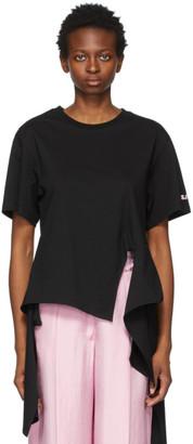 Sjyp Black Cropped Back T-Shirt