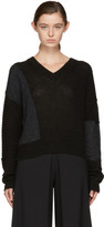 McQ Black Cropped Patched V-neck Sweater