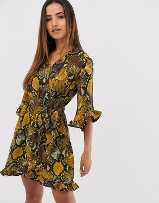 AX Paris snake kimono sleeve mini dress-Yellow