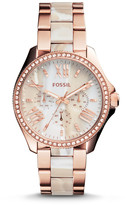 Fossil Cecile Rose-Tone & Horn Acetate Stainless Steel Watch