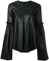 MM6 MAISON MARGIELA faux leather top - women - Polyurethane/Viscose - 42